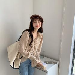 實拍 2020秋季 新款 韓風 小設計壓褶料荷葉邊雪紡防銹上衣24054