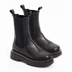 伊二三 切爾西短靴女冬新款中筒厚底煙筒英倫風馬丁靴子2020-8-1