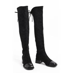 伊二三 冬季新款过膝长靴女瘦瘦时装靴高筒靴子2028-830B