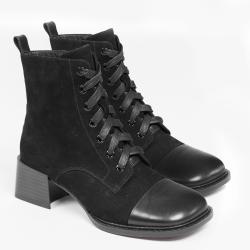 伊二三 2020冬季新款真皮马丁靴方头系带短靴女粗跟高跟短筒女靴子2028-870