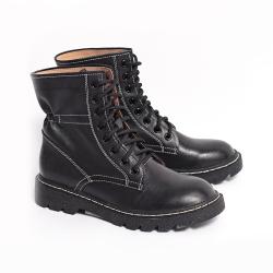 伊二三 2020年冬季新款卓熱風女鞋時尚系帶馬丁靴休閑女靴D202-6