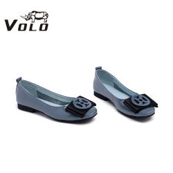 Volo犀牛2020年新款樂福鞋女一腳蹬通勤風真皮平底平跟鞋6159W3041D