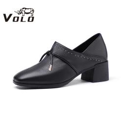 Volo犀牛2020秋新通勤風正裝中跟粗跟輕熟優雅女單鞋8449W5001D