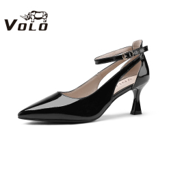 Volo犀牛2020夏新款凉鞋女优雅一字式扣带女式凉鞋中跟细跟单鞋964203121L
