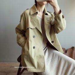 小言2020秋季新款短款風衣女英倫風寬松顯瘦純色長袖外套女0736
