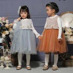 伊卡通 秋冬新款时尚气质可爱女童中式网纱裙公主裙 932028