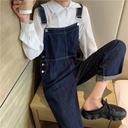 ELE秋季2020新款时尚减龄韩版宽松直筒牛仔背带裤阔腿裤20091
