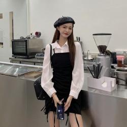 ELE2020秋季新款chic韓版抽繩收腰顯瘦吊帶連衣裙女25233
