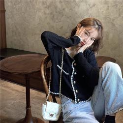優朗小香風V領長袖針織衫女夏季2020新款韓版薄款外搭小開衫短款外套H251-1