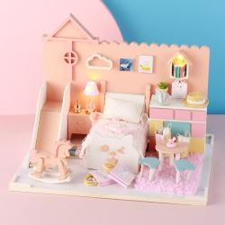 P002diy小屋手工制作猫咪咪哑公主小房子模型拼装别墅创意生日礼物女