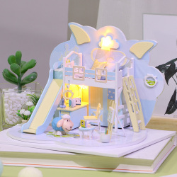 P004diy小屋手工制作咩咩小窝迷你小房子模型拼装别墅创意生日礼物女