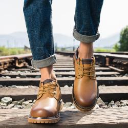 VOLO犀牛男鞋 系带皮鞋男户外休闲鞋潮流英伦工装鞋厚底大头皮鞋1327C011X