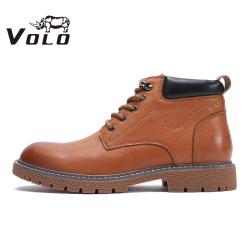 VOLO犀牛男鞋马丁靴男潮英伦风棉鞋冬季中帮鞋商务休闲保暖靴子30997071MB