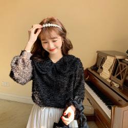 谷雨2020秋季韩版宽松chic减龄超仙可爱双层娃娃领流苏雪纺衬衫上衣女WW63671