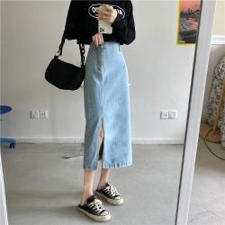 ELE实拍 2020秋季新款复古高腰显瘦中长款牛仔开叉长裙半身裙20092