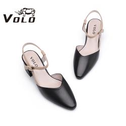 Volo犀牛2020夏新款单鞋女时尚优雅气质工装鞋中跟粗跟尖头女鞋644200321D