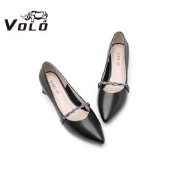 Volo犀牛2020夏季新款时尚优雅工装正装粗跟中跟女单鞋644200391D
