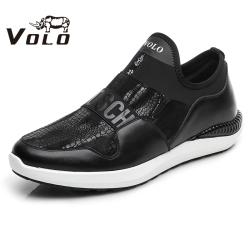 VOLO犀牛男鞋 套脚休闲鞋男拼接潮鞋防磨脚一脚蹬懒人鞋休闲皮鞋1257C011S