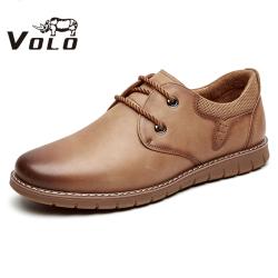 VOLO犀牛男鞋 百搭休闲鞋英伦潮鞋耐磨牛筋底户外休闲系带皮鞋男1267C021X
