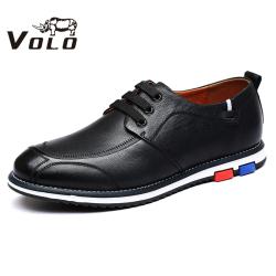 VOLO犀牛男鞋 休闲低帮系带皮鞋男英伦鞋子男休闲鞋牛皮板鞋男潮1277C051S