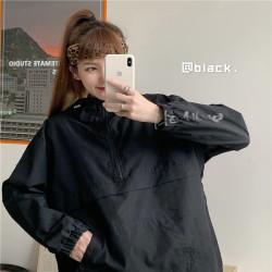 黑色連帽衛衣女2020春秋韓版ins原宿慵懶風寬松bf超火cec上衣外套 V60