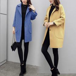 毛呢外套女2020秋季新款韩版宽松显瘦百搭大码中长款龙凤呢子大衣 666