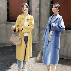 2020秋冬流行龙凤呢毛呢外套女中长款韩版呢子大衣 668