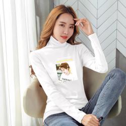 2020秋装纯色t恤女长袖纯棉百搭字母圆领韩版修身显瘦加绒打底衫 1717