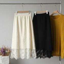 欧莱2020百搭新品松紧高腰纯色拼接蕾丝两面穿针织半身裙4992
