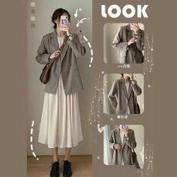 韩未2020年轻熟御姐气质炸街赫本风韩版西装职业两件套装连衣裙子女秋 B17633