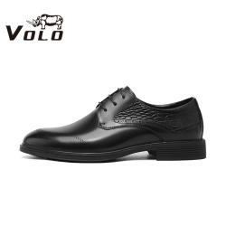 VOLO犀牛男鞋2020秋季新款真皮增高德比正装皮鞋婚鞋通勤休闲皮鞋134205462D