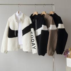 欧莱2020年冬季复古立领拉链开衫羊羔毛撞色外套上衣批发5018