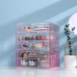 科特豪斯 PB9998-化妆品收纳盒透明粉色