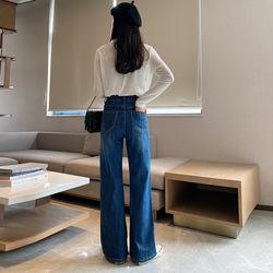红杉厂家直销女士阔腿牛仔裤 2020秋季新款宽松显瘦泫雅直筒牛仔裤女 M6351
