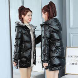亮面棉服女2020新款棉衣女中长款冬季韩版连帽宽松棉袄免洗外套潮 9067