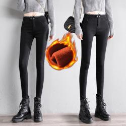黑色加绒打底裤女外穿冬季2020新款高腰显瘦小脚小黑裤子