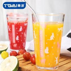 TQVAI华派 网红水杯多功能印花量杯水果杯茶杯400ml
