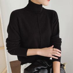 6633 韩国东大门纯色针织打底衫女2020秋冬新款宽松高领套头长袖毛衣薄款