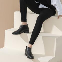 2020秋冬新款百搭短靴时尚潮流皮面磨砂靴女平底中跟切尔西裸靴  H110