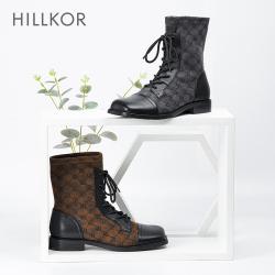 HILLKOR/晖蔻2020秋冬新款短款百搭马丁靴女粗跟弹力瘦瘦靴显脚小 2020929