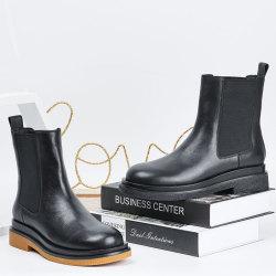 2020秋冬新款马丁靴女弹力套筒切尔西靴软皮短头厚底时尚百搭靴子 20I110710403