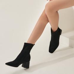 尖头女靴中筒秋冬高跟弹力瘦瘦靴女靴欧美黑色显瘦尖头粗根短靴女 20H1127108