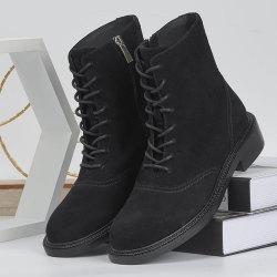 马丁靴女秋冬2020新款单靴英伦风中筒软皮厚底交叉绑带时尚单靴女 20G110410403