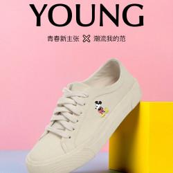 瑟莉亚 女鞋2020年新品休闲帆布鞋迪士尼米奇老鼠小白鞋女20A03S03