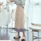 针织半身裙女秋2020新款条纹韩版一件代发甜美包芯纱宽松百皱裙子