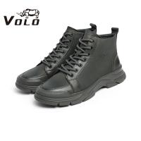 VOLO犀牛2020新款冬季男鞋马丁靴男加绒保暖绒鞋高帮鞋真皮磨砂鞋155207171MM
