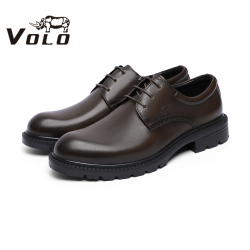 VOLO犀牛2020新款皮鞋真皮四季男商务休闲软皮软底中老年父亲鞋男 134207101D
