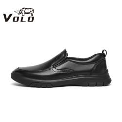 VOLO犀牛男鞋2020冬季新款男士皮鞋一脚蹬真皮商务休闲厚底爸爸鞋105207141D