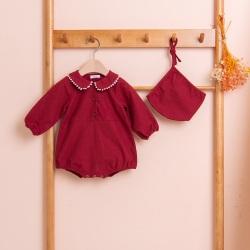 韩国818 BEBELOUTE蕾丝平领太空服婴儿童装套装帽子韩国原缎