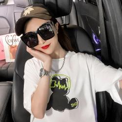 淘京7816#实拍欧洲站新款2021夏装中长款刺绣卡通音乐熊短袖t恤女